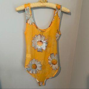 Zara Floral Daisy Flower Sheer Bodysuit Boho Chic